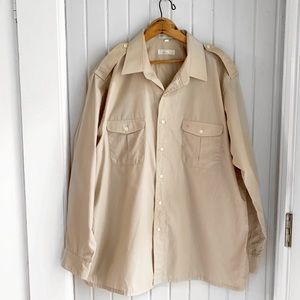 Men's Christian Dior Tan Button Down Utility Shirt